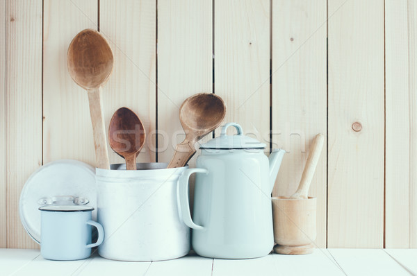 Koffie pot glazuur rustiek lepels home Stockfoto © manera
