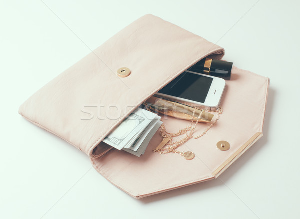 beige woman's clutch handbag Stock photo © manera
