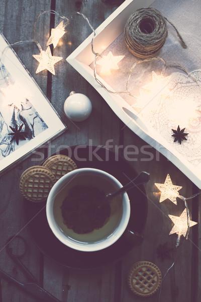 Kényelmes ünnepek otthon tél ünnep csésze Stock fotó © manera