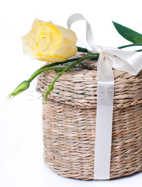 Fonott doboz szatén szalag közelkép virág Stock fotó © manera