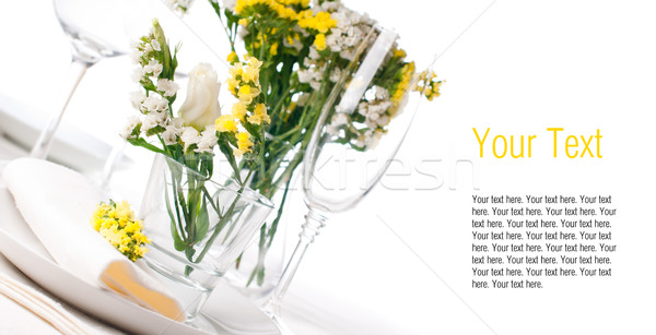 Festive table setting in yellow, template Stock photo © manera