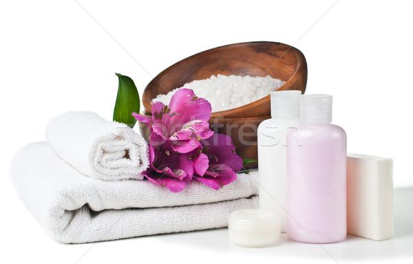 Ressources spa fleurs blanche serviette aromatique Photo stock © manera