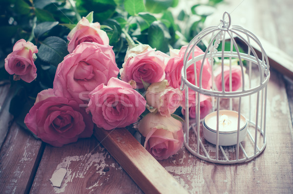 vintage decor with roses Stock photo © manera