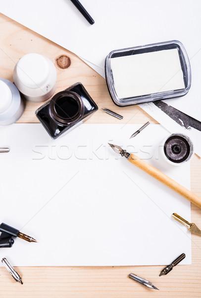 Papier encre calligraphie stylos atelier détails Photo stock © manera
