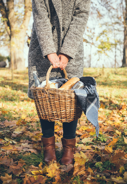 woman holding a basket Stock photo © manera