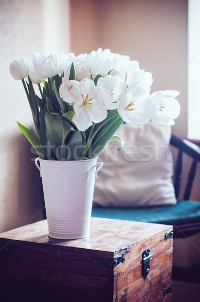 Bianco tulipani bouquet interni stanza Foto d'archivio © manera