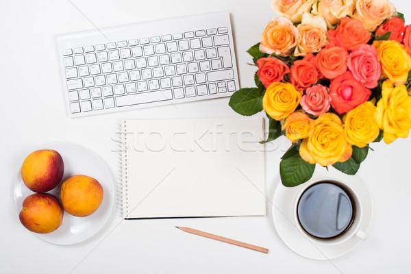 Vrouwelijk witte bureau werkruimte bloemen startup Stockfoto © manera
