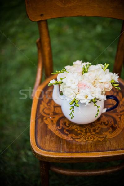 Nyár esküvő buli dekoráció ünnepi friss Stock fotó © manera