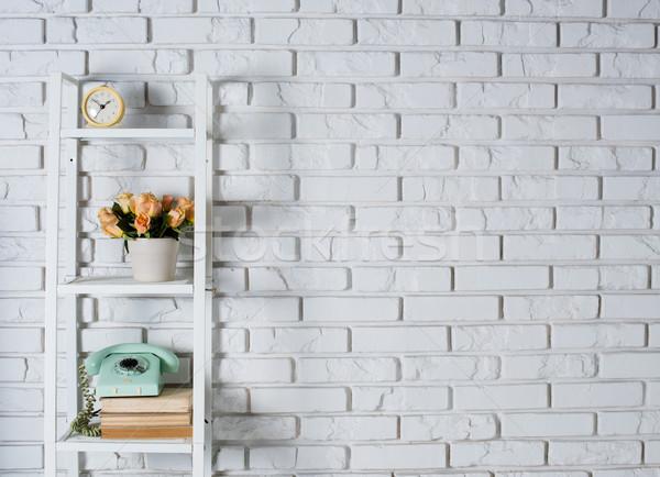 Stockfoto: Plank · witte · muur · vintage