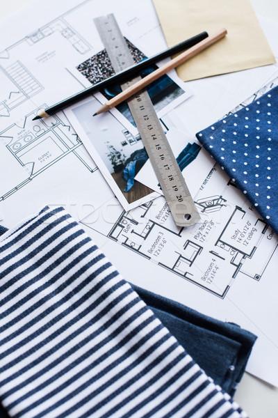 Belső dolgozik asztal építészeti terv ház Stock fotó © manera