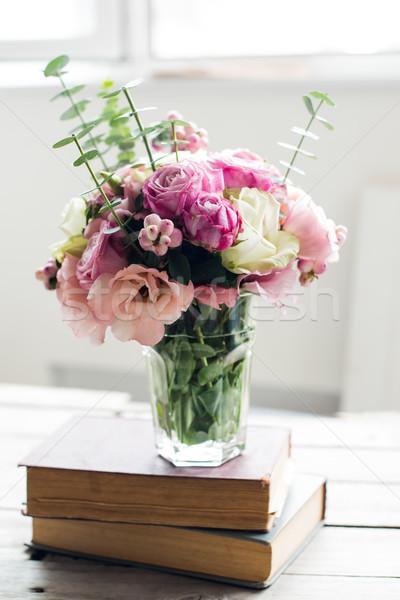 цветы древних книгах элегантный букет розовый Сток-фото © manera