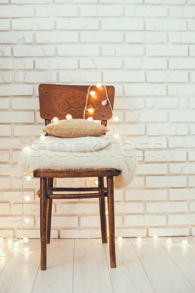 Weiß beige Kissen Stock foto © manera