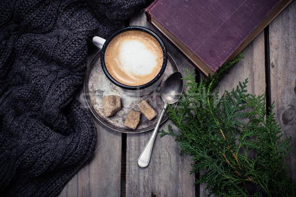 Foto d'archivio: Ramo · abete · rosso · caldo · maglione · Cup · caffè