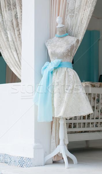 манекен Vintage слоновая кость платье швейных семинар Сток-фото © manera