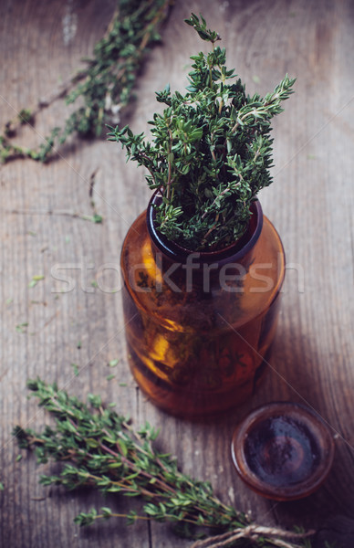 pharmacy bottle and thyme herb Stock photo © manera