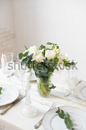 snow white wedding table decor  Stock photo © manera