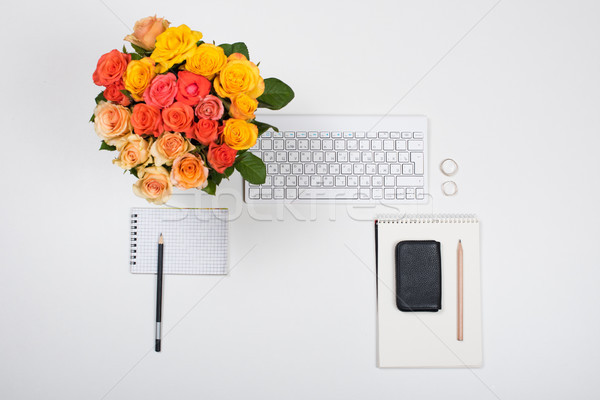 Feminine white desk workspace with flowers, startup concept Stock photo © manera