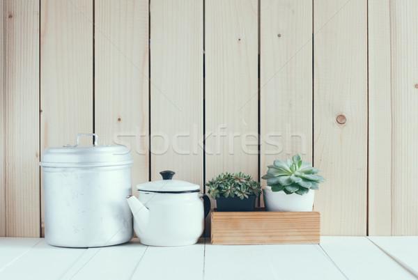Vintage home arrangement zomer planten schuur Stockfoto © manera