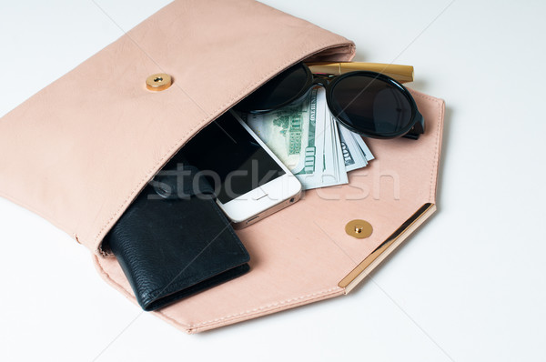 open beige woman's clutch Stock photo © manera