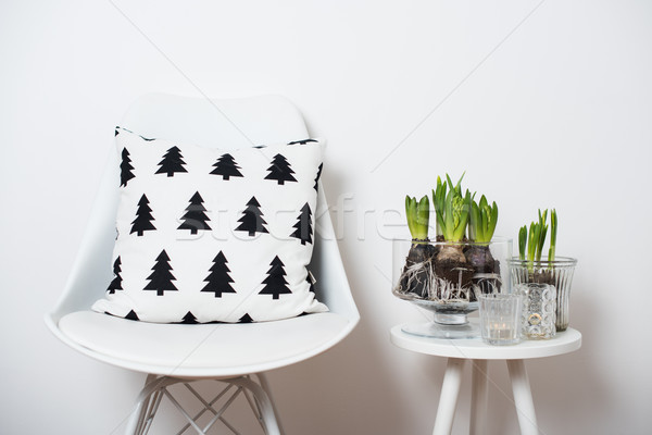 minimalist furniture and hyacinths Stock photo © manera