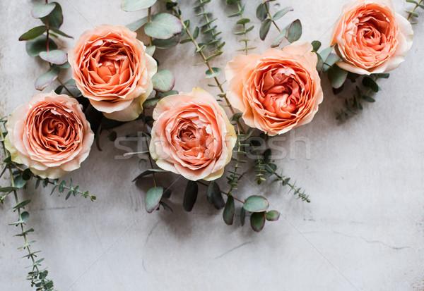 orange roses and decorative branches on white textured backgroun Stock photo © manera