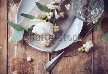 Verão casamento tabela decoração decoração flores brancas Foto stock © manera