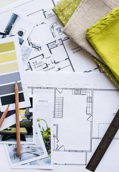 Interni lavoro tavola architettonico piano casa Foto d'archivio © manera