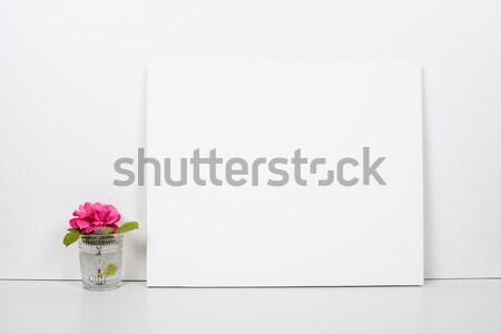 Empty blank canvas on a white background, home interior decor Stock photo © manera