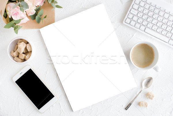 feminine background with coffee, smartphote, roses and magazine  Stock photo © manera