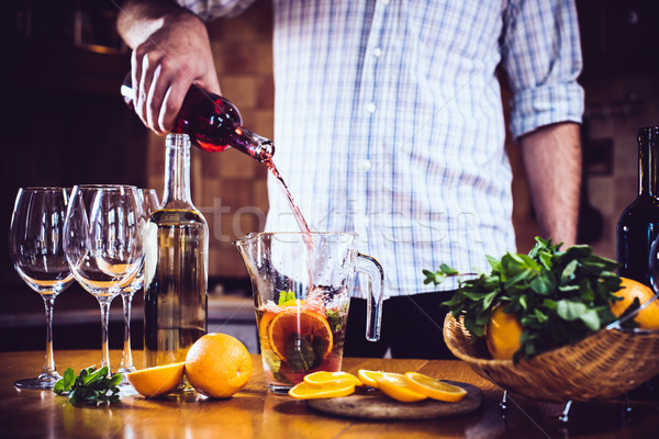 pouring red wine into a carafe Stock photo © manera