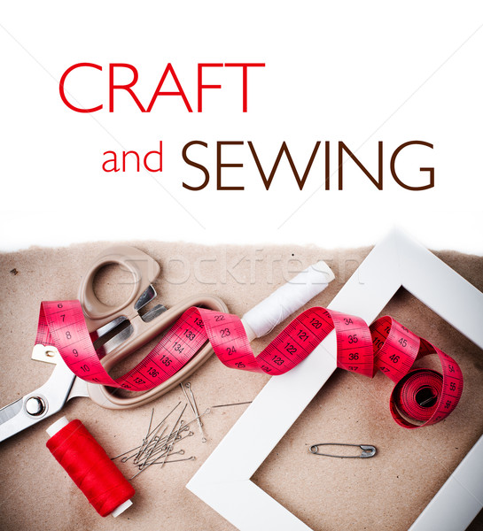 Template with tools for sewing and handmade Stock photo © manera