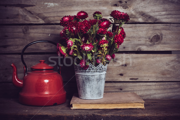 red flowers and enamel kettle Stock photo © manera
