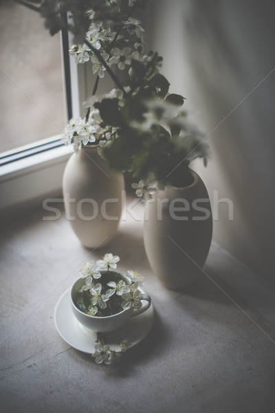 Kersenbloesem witte vaas vensterbank vintage stijl Stockfoto © manera