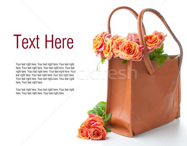 アレンジメント バラ ハンドバッグ オレンジ 色 白 ストックフォト © manera