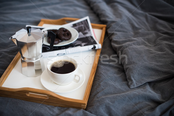 Coffee and breakfast in bed, cozy morning  Stock photo © manera