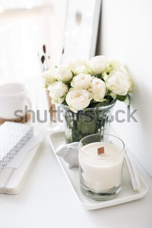 dishes, towels and a basket of flowers Stock photo © manera
