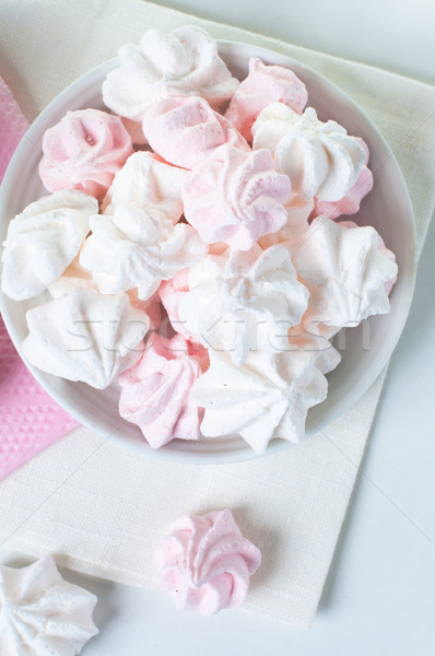 White and pink meringue on a plate  Stock photo © manera