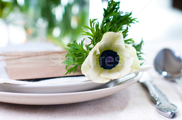 Closeup of holiday table setting Stock photo © manera