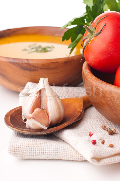 Vegetáriánus étel közelkép fokhagyma paradicsomleves csoport vacsora Stock fotó © manera