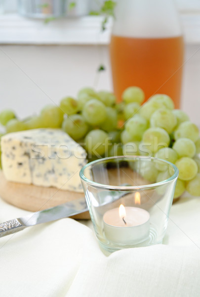 wine, grapes and blue cheese Stock photo © manera