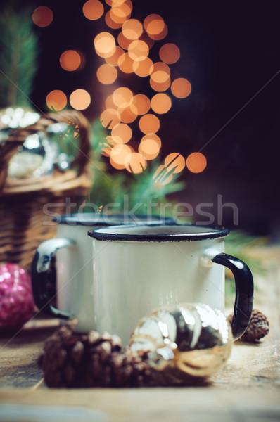 Kényelmes lakberendezés klasszikus karácsony díszítések fonott Stock fotó © manera