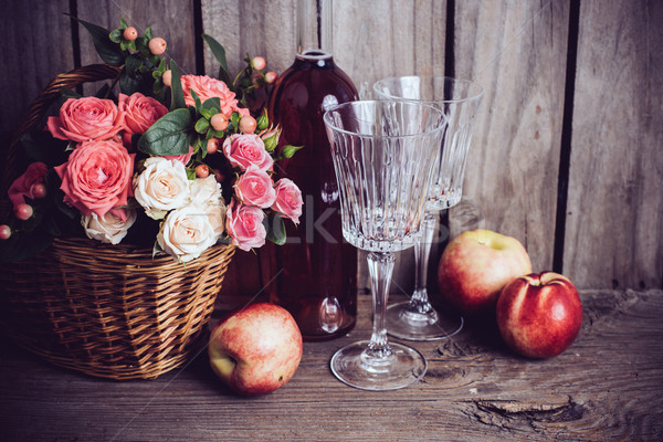 Rusztikus csendélet friss természetes rózsaszín rózsák Stock fotó © manera