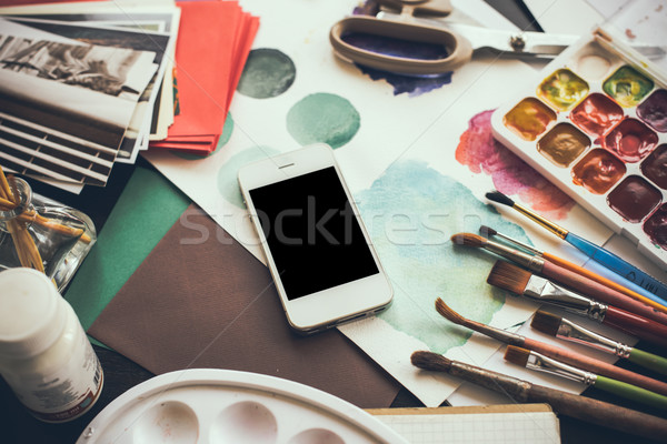 Stock fotó: Okostelefon · asztal · művész · stúdió · vízfesték · paletta