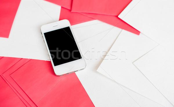 смартфон белый красный бумаги чистой пусто Сток-фото © manera