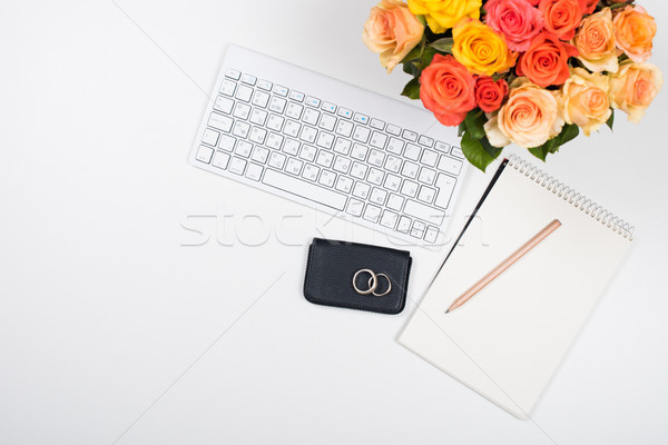 フェミニン 白 デスク 作業領域 花 スタートアップ ストックフォト © manera