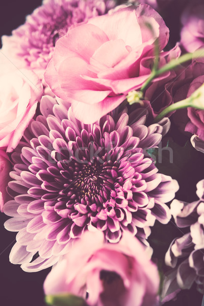 Bouquet of pink flowers closeup, eustoma and chrysanthemum Stock photo © manera