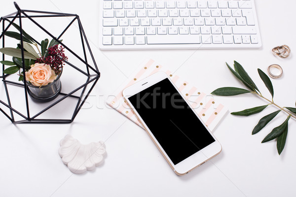 feminine tabletop flatlay with smartphone mock-up Stock photo © manera