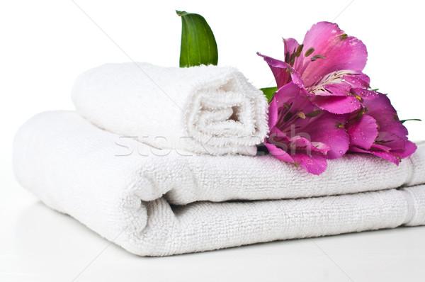 Kaynaklar spa beyaz havlu çiçek yalıtılmış Stok fotoğraf © manera