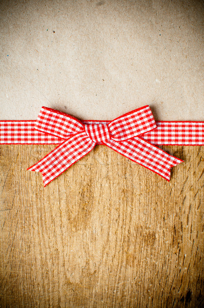 Wooden background, ribbon and kraft paper Stock photo © manera