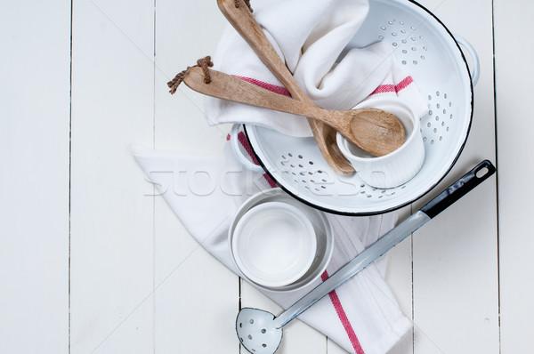 Rustik mutfak ahşap kaşık Stok fotoğraf © manera